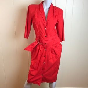 Vintage 80s/90s Button Down Red Dress